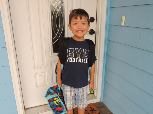 Cody on the first day of kindergarten