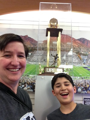 Selfie with BYU's 1984 national championship trophy