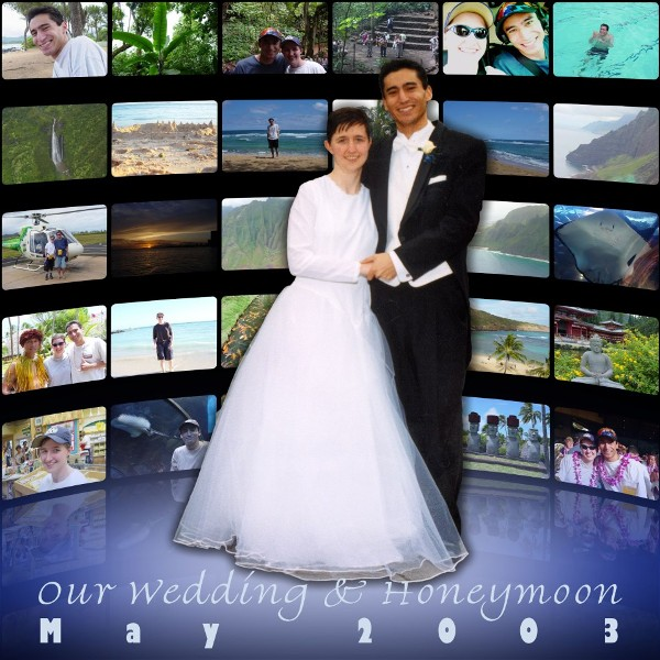 Collage of wedding and honeymoon pictures