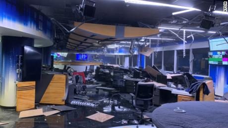 Damaged news studio