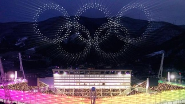 Olympic rings by drones